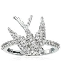 """Betsey Johnson - Multicolor """"blue Birds"""" Crystal Cubic Zirconia Dove Ring, Size 7 - Lyst"""