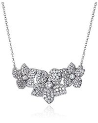 Kate Spade - Metallic S Pave Bloom Pendant Necklace, Clear/silver - Lyst