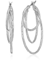 Anne Klein - Metallic Silver Tone Triple Ring Hoop Earrings - Lyst