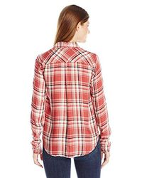 PAIGE - Red Mya Plaid Shirt-cedar/cream/evening Blue - Lyst