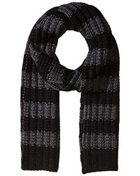 Nautica - Black Striped Novelty Textured Scarf for Men - Lyst