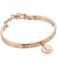 BCBGeneration - Metallic Rose Gold/crystal L Toggle Bracelet - Lyst