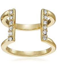 T Tahari - Metallic Essentials Crystal Open Band Ring, Size 7 - Lyst