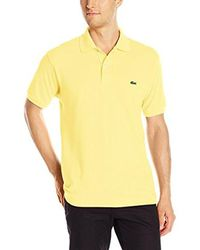 Lacoste - Yellow Short Sleeve Pique L.12.12 Classic Fit Polo Shirt, L1212 for Men - Lyst
