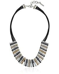 """Nine West - Multicolor Tri-tone And Crystal 16"""" Frontal Necklace - Lyst"""