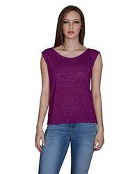 Velvet By Graham & Spencer - Purple Textured Knit Keyhole Back Tee - Lyst