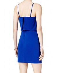 Guess - Blue Jersey Dress With Strap And Cascading Fabric Detail - Lyst
