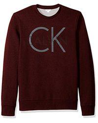 Calvin Klein - Purple Long Sleeve Printed Logo Crew Neck Pullover Sweatshirt for Men - Lyst
