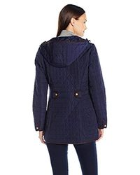 Jones New York - Blue Split Diamond Quilt Jacket - Lyst