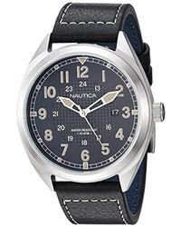 Nautica 'battery Park Boxset' Quartz Stainless Steel And Leather Casual Watch, Color:black (model: Napbtp006) for men