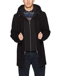 SOIA & KYO - Black Graham Mid Length Wool Jacket With Removable Bib And Hood for Men - Lyst