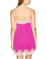 Natori - Pink Enchant Solid Slinky Chemise With Lace - Lyst