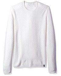 CALVIN KLEIN 205W39NYC - White Merino Basket Texture Crew Neck Sweater for Men - Lyst