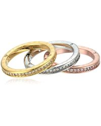 Michael Kors - Multicolor S Tri-tone And Pave Logo Grommet Stack Ring Set - Lyst