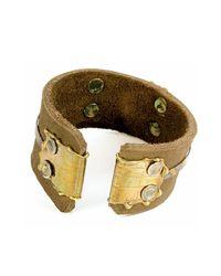 Sibilla G Jewelry - Sibilla G Leather Cuff In Distressed Brown - Lyst