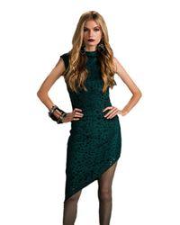 Sheri Bodell - Perforated Asymmetrical Hem Dress In Forest Green - Lyst