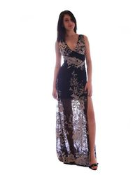 Sky Clothing Collection - Multicolor Sky Mesh With Embroidery Maxi Dress In Sand - Lyst