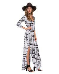 Clayton | Black Stevie 3/4 Sleeve Maxi Dress In Grey Box | Lyst
