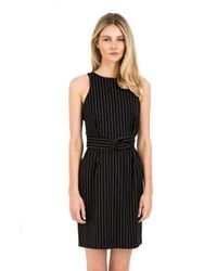 Finders Keepers - As You Are Twist Dress In Black Pinstripe - Lyst