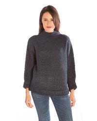 Line Knitwear - Blue Lucien Funnel Neck Sweater In Midnight - Lyst