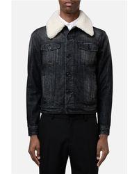 AMI - Multicolor Shearling Collar Denim Jacket for Men - Lyst