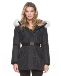 Andrew Marc - Black Amy Hooded Shell Parka Jacket  - Lyst