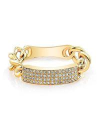 Anne Sisteron - Metallic 14kt Yellow Gold Diamond Id Tag Ring - Lyst