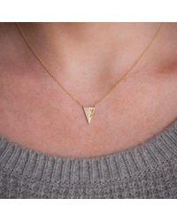 Anne Sisteron - Multicolor 14kt White Gold Half Diamond Long Triangle Necklace - Lyst