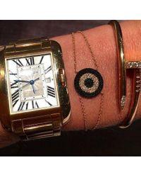 Anne Sisteron - Metallic 14kt Yellow Gold Diamond And Black Diamond Evil Eye Disc Bracelet - Lyst
