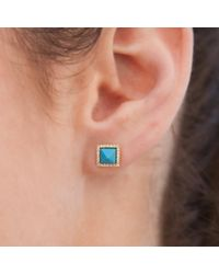Anne Sisteron - Blue 14kt White Gold Turquoise Diamond Pyramid Large Stud Earrings - Lyst