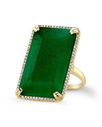 Anne Sisteron - Green 14kt Yellow Gold Emerald Diamond Rectangle Cocktail Ring - Lyst