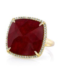 Anne Sisteron - Metallic 14kt Yellow Gold Ruby Diamond Cushion Cut Cocktail Ring - Lyst