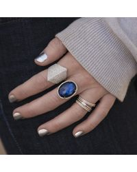Anne Sisteron - Multicolor 14kt White Gold Dark Azul Diamond Oval Doublet Cocktail Ring - Lyst