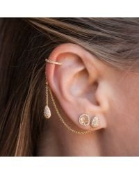Anne Sisteron - Multicolor 14kt Rose Gold Diamond Pear Stud And Ear Cuff Chain Earrings - Lyst
