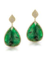 Anne Sisteron | Green 14kt Yellow Gold Emerald Pear Diamond Earrings | Lyst