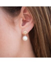 Anne Sisteron - Metallic 14kt Yellow Gold Diamond Sunburst Pearl Drop Stud Earrings - Lyst