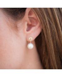 Anne Sisteron - Metallic 14kt Rose Gold Diamond Sunburst Pearl Drop Stud Earrings - Lyst