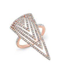 Anne Sisteron - Metallic 18kt Rose Gold Diamond Arrowhead Ring - Lyst