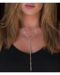 Anne Sisteron - Pink 14kt Rose Gold Diamond Bezel Pave Lariat Necklace - Lyst
