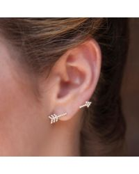 Anne Sisteron - Multicolor 14kt Rose Gold Diamond Open Arrow Ear Climber - Lyst