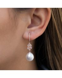 Anne Sisteron | Multicolor 14kt Rose Gold Diamond Cluster And Pearl Drop Earrings | Lyst