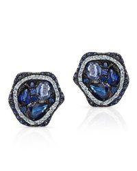 Anne Sisteron | 14kt White Gold Blue Sapphire Diamond Cluster Stud Earrings | Lyst