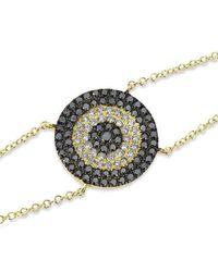 Anne Sisteron | Metallic 14kt Yellow Gold Diamond And Black Diamond Evil Eye Disc Bracelet | Lyst