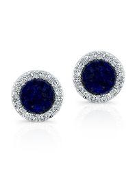 Anne Sisteron - Blue 14kt White Gold Lapis Lazuli Diamond Round Stud Earrings - Lyst