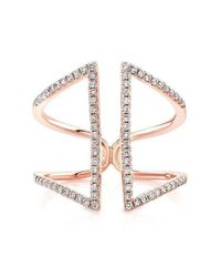 Anne Sisteron | Metallic 14kt Rose Gold Diamond Double Bar Angled Ring | Lyst