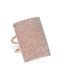 Anne Sisteron | Multicolor 14kt Rose Gold Diamond Rectangle Armor Ring | Lyst