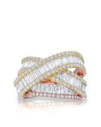 Anne Sisteron | Multicolor 14kt Rose And Yellow Gold Baguette Diamond Luxe Wrap Ring | Lyst