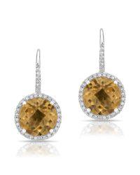 Anne Sisteron | Metallic 14kt White Gold Citrine Diamond Wireback Earrings | Lyst