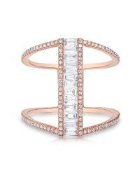 Anne Sisteron   Multicolor 14kt Rose Gold Baguette Diamond H Ring   Lyst