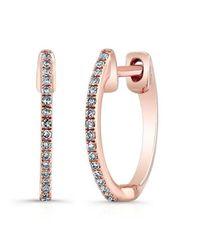 Anne Sisteron | Multicolor 14kt Rose Gold Diamond Huggie Earrings | Lyst